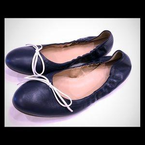 JCrew leather ballet flats never worn, navy 8.5